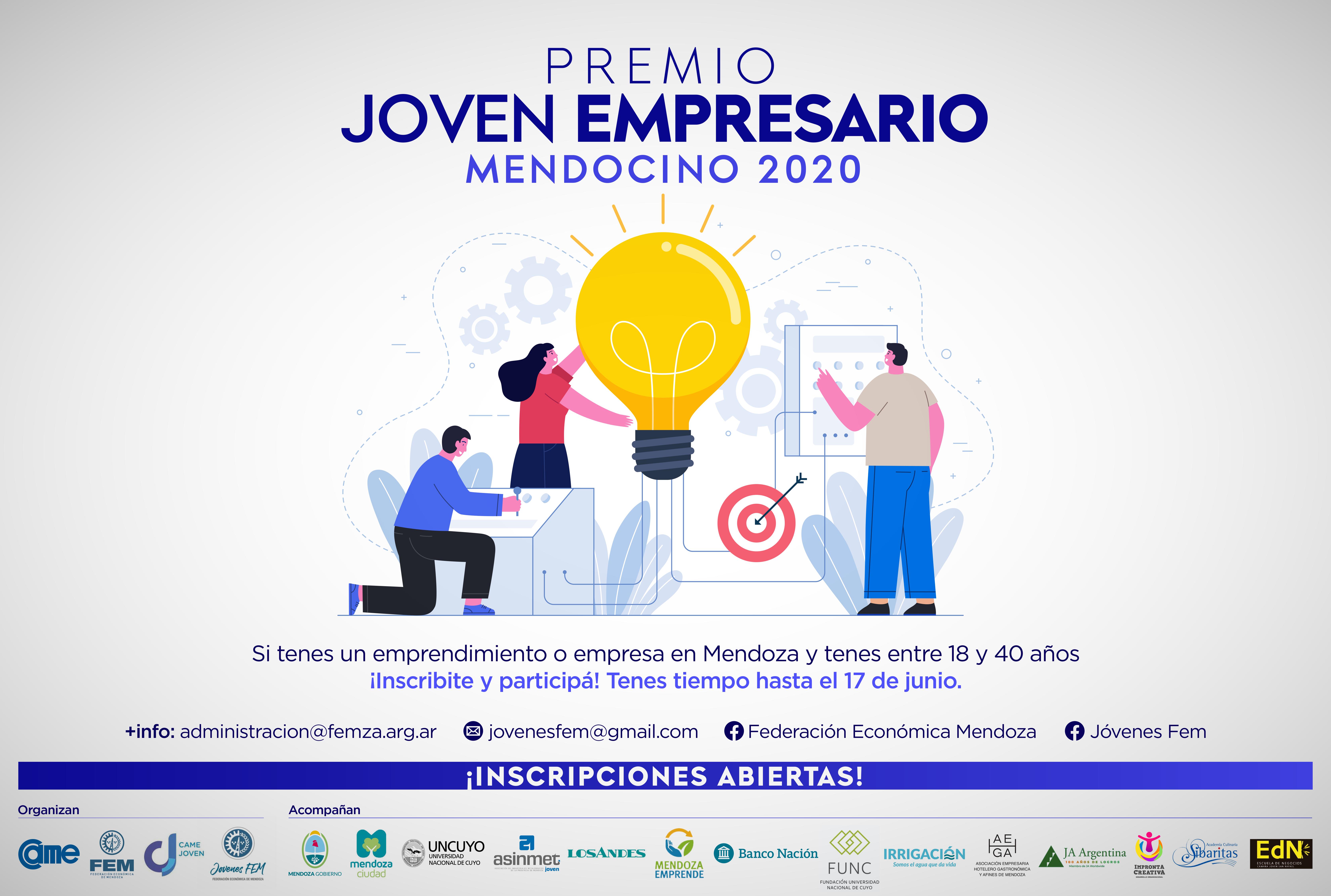 Abrió la inscripción para participar del «Premio Joven Empresario Mendocino 2020»